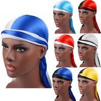 Fashion Solid Women Men Silky Durag Head Wrap Cap Summer Bandannas Rag Hat