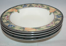 Mikasa Intaglio CAC 29 Garden Harvest 4 Rimmed Soup Bowls Fruits Leaves Japan