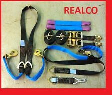 BLACK RECOVERY RATCHET STRAP KIT WINCH BROTHER 2X 4MTR WHEEL STRAPS