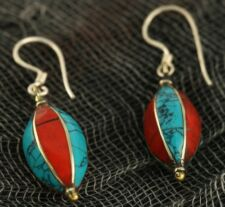 Turquoise Coral Earrings Tibetan Nepalese Handcrafted White Metal /w Silver Hook