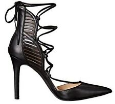 Jessica Simpson Cynessa Lace up High Heel Pump Zip Leather Black Size 7.5