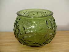 Vtg E O Brody Green Crinkle Textured Glass Candle Holder Vase Planter G 100 USA