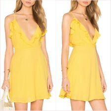 SALE Topshop Yellow Skater Frill V Neck Strappy Mini Dress 8 10 US 4 6 S M  ❤