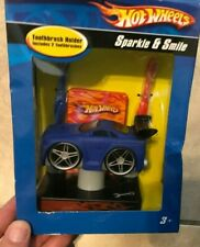 Hot Wheels Sparkle & Shine Toothbrush Holder Blue Car w/ 2 Brushes NEW in box