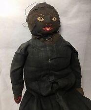 Antique c1900 Folk Art Black Sock Bottle Doll
