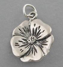 Sterling Silver Charm Pendant 3D WILD ROSE Flower Garden 1365