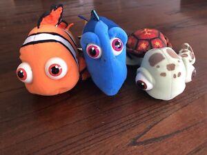 Disney Pixar Finding Nemo, Dory And Squirt Plush Toys 2002