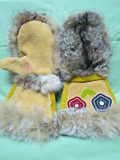 NATIVE AMERICAN PAIR OF MITTS TANNED MOOSE HIDE WITH FOX FUR BEADED LARGE