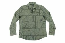 ALFANI GEOMETRIC PRINT OLIVE GREEN SMALL SOFT BUTTON FRONT SHIRT MENS NWT NEW