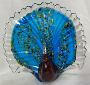 """Lenox: American By Design ~ Art Glass Ruby Red Peacock ~ 6"""" IN BOX"""