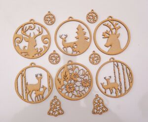 Christmas Wooden MDF Blank - Baubles with forest nature theme - 12 items set
