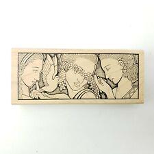 Judikins 2285H Three Sisters Women Flowers Art Deco Goddess Wood Rubber Stamp