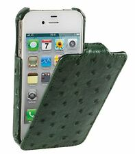 MELKCO Leather Case for Apple iPhone 4/4S - Ostrich Print Pattern (GREEN) H1513