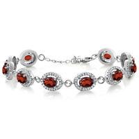 """11.88 Ct Oval Red Garnet 925 Sterling Silver 7.5"""" Bracelet"""