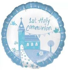 "Boys 1st / First Holy Communion Blue Party Decorations 17"" Foil Balloon"
