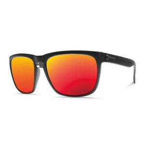 Electric Knoxville XL Matte Black Sunglasses w/ Grey Fire Chrome Lens