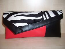 Zebra print, black & red faux leather & velboa asymmetrical clutch bag, BN