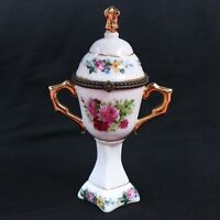Small Porcelain Dresden Urns Covered Nice Flowers Vase To Stash Jewelry