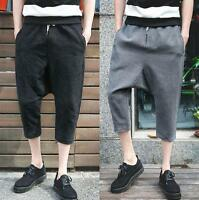 Fashion Mens linen blend breath loose pants harem cropped trousers casual shorts