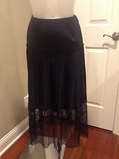 Stella McCartney Black Mid Length Skirt with Pleated and Mesh Details Size EU36
