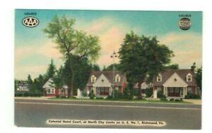 "VA Richmond Virginia antique linen post card ""Colonial Hotel Court Motel"""