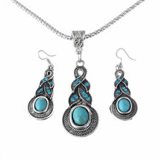 Cool Tibetan Silver Finished Blue Turquoise Pendant Necklace Bracelet Jewelry
