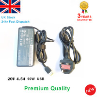 IBM Lenovo 20V 4.5A 90W Laptop Netbook Charger Adapter + UK Power Cable