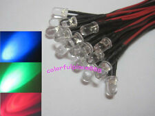 10pcs, 5mm RGB Slow Flash Red Green Blue Colorful Pre-Wired LED Leds 9V 12V 20CM