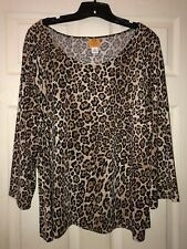 Ruby Rd Woman Plus 2x Embellished Blouse Leopard Cheetah NWOT