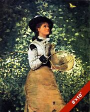 YOUNG WOMAN GIRL CATCHING A BUTTERFLY FINE ART PAINTING REAL CANVAS GICLEE PRINT