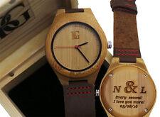 Reloj De Madera Grabada Personalizada Cuero De Lujo Unisex Caballeros Damas en Caja Madera