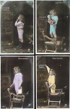French Set of 4 GOURMANDISE - Little Girl & Tin Box GREED INDULGENCE c1904