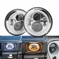 "Chrome 7"" LED Headlights White/Amber Halo Angle Eyes For Jeep Wrangler JK LJ TJ"