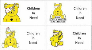 40 x Children in need/pudsey bear Day (b) labels/stickers cakes/gift bags/sweets