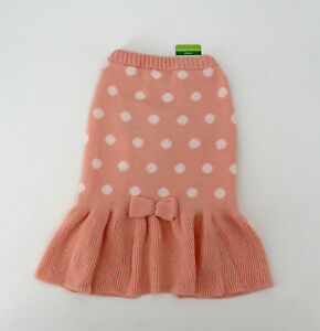 NWT Top Paw Dog Sweater Size Large L Dress Bow Pink Ivory Dots - NEW!