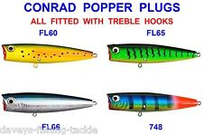 4 CONRAD POPPER PLUGS SEA GAME COARSE FISHING SPINNING ROD LURES BASS PIKE PERCH
