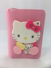 Hello Kitty Wallet Mirror Pink Cute Zippered Magnetic Button Short Shiny Texture