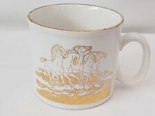 Bone China Mug Cup, Rim & Horses Running thru Water all in Gold made in England