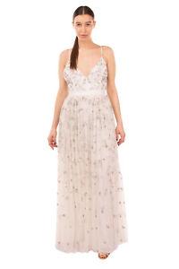 RRP €810 NEEDLE & THREAD BRIDAL Tulle Empire Line Wedding Dress Size UK 14 / M