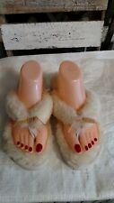 NEW UGG Brand Womens Fluff Flip Flop /w Bow Ribbon Slippers Shoes Natural sz 10