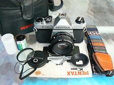 PENTAX K1000 CAMERA W/PENTAX-A 50MM F2 LENS *TESTED MANUAL 35MM SLR CAMERA MINT
