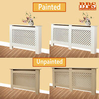 White Radiator Cover Unpainted Traditional MDF Wood Cabinet Grill Small Large UK