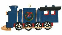 Legend of the Christmas Train Navy Wood Painted Ornament Party Favor Gift w/card
