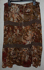 WOMENS SAG HARBOR MULTI BROWNS TIERED BOHO PEASANT LINED SKIRT   SIZE 16