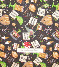 "CHRISTMAS FABRIC Baker's Dozen Desserts Black - Quilting Treasures Cotton 24"""