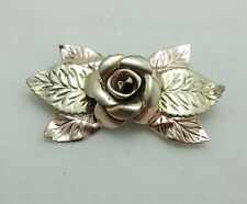 Rose Brooch Pin Sterling Silver Signed Lang Leaves Flower 987