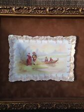 Antique Hand Painted Porcelain Plaque in Wood Frame 12''x14''