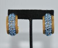 Clip On Earrings Gold Tone Blue Rhinestone Crystal Hoops Statement Shiny Bin8
