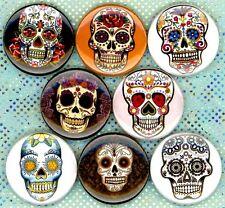 """Sugar Skulls x 8 NEW 1"""" pins buttons badges day dead dia de los muertos calavera"""