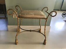 Italian Hollywood Regency Gilt Tole Rope Tassel Bench